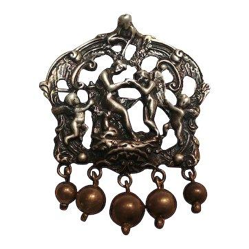 Rare Cini Renaissance revival Psyche cherubs pin dangling balls