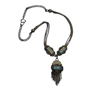 Victorian sterling silver enamel slide tassel pendant necklace fox tail chain