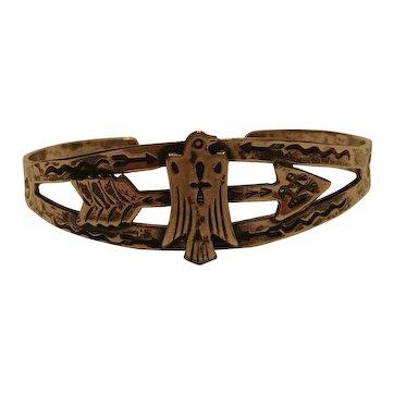 Fred Harvey era Southwest sterling silver  cuff bracelet phoenix bird