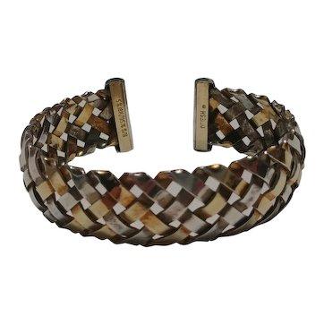 Gabriel Ofiesh 18K on sterling silver cuff bracelet hand woven