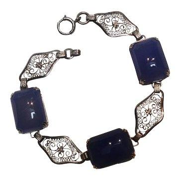 Art Deco sterling silver blue chalcedony bracelet fine lacy filigree plaques