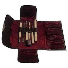 Sewing etui travel kit bovine bone needle case , button hook, etc