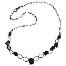 Sterling silver amethyst stone necklace