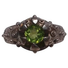 Sterling silver peridot stone ring heavily embossed band
