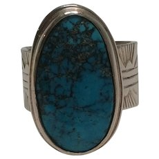 J Nez Navajo hand made sterling silver turquoise ring
