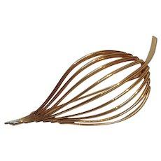 Rare Napier 14K gold stylized leaf pin