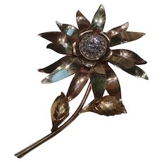 Taylord 12K gold filled flower brooch pin rose and yellow