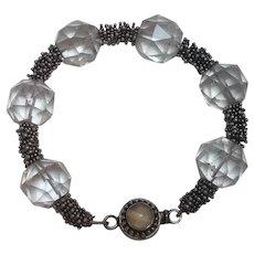 Sterling silver faceted rock crystal bead bracelet