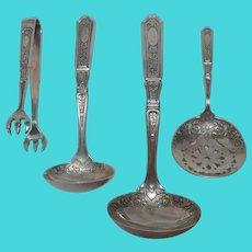 Gorham sterling silver serving set St Dunstan chased mono