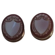 Antique carved shell cameo shield stud button cuff links