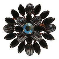 Black fluted glass and flat top rhinestone brooch