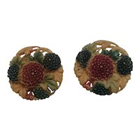 Celluloid chrysanthemum flower buttons painted