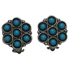 Frances Begay sterling turquoise clip earrings Native American on card