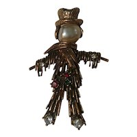 Jeanne scarecrow pin simulated pearl rhinestone
