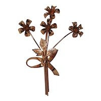 Coro sterling craft vermeil pin bouquet of flowers
