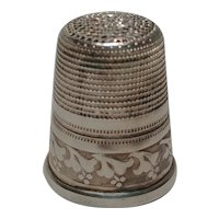 Sterling silver thimble large etched design West Germany