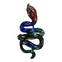 Sterling silver enamel snake ring Mexico jeweled eyes