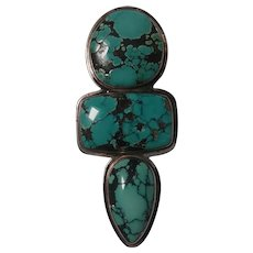 Amy Kohn Russel sterling silver turquoise pin pendant