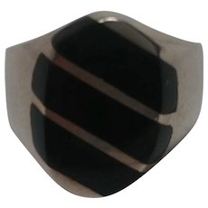 Sterling silver ring Mexico onyx stone inlay