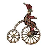 Mechanical rhinestone Clown on bicycle  pin