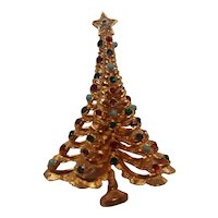 Boucher Christmas tree pin with tiny  rhinestone ornaments