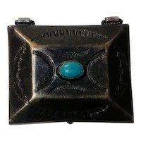 Southwest sterling silver turquoise pill box stamped design