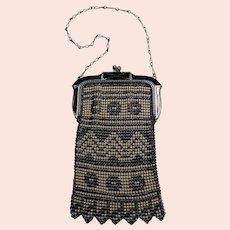 Whiting & Davis Art Deco mesh purse enamel Beadlite armored