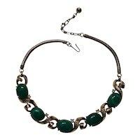 Trifari necklace jade lucite cabochon baguette rhinestone