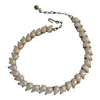 Trifari 1958 Naiad pearlized tear drop cabochon choker simulated pearl