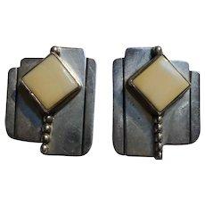 Frank & Brihilda Coriz Santo Domingo sterling silver earrings clip