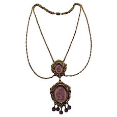 Goldette festoon necklace double amethyst glass intaglio bezel crystals