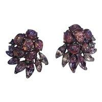Trifari Etoile lavender lava rocks clip earrings