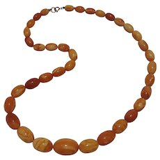 Natural Baltic amber necklace egg yolk butterscotch oval beads