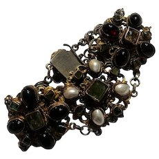 Austro Hungarian sterling bracelet garnet pearl green stone