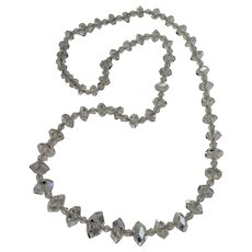 Faceted genuine rock crystal bead necklace