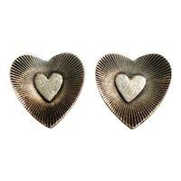 Danecraft sterling silver heart screw back earrings