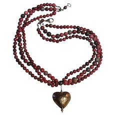 Sterling silver hammered heart semi precious stone bead necklace