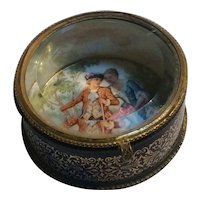Czechoslovakia porcelain glass top trinket box courting scene