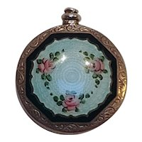 Sterling silver guilloche enamel miniature perfume bottle roses