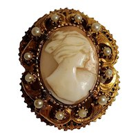 Florenza carved shell cameo pin pendant simulated seed  pearl
