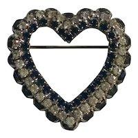Joseph Warner rhinestone heart pin blue colorless