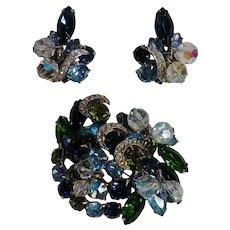 Kramer rhinestone pin clip earrings ribbon  crystal cha cha