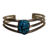 Southwest sterling silver turquoise cuff bracelet spider web