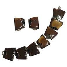 Charel brown moonglow lucite  bracelet clip earrings set