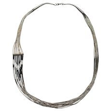 Southwest sterling silver liquid silver necklace 10 strand