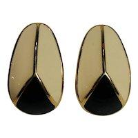 Trifari enamel clip earrings sleek Modern design