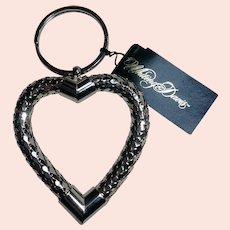 Whiting Davis mesh heart key ring silver tone