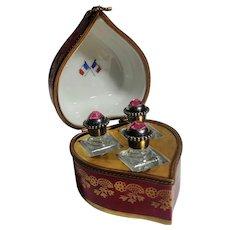 Limoges heart porcelain perfume box chest casket three bottles