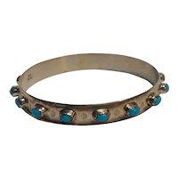 Southwest sterling silver turquoise bangle bracelet L.B.