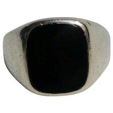 Avon sterling silver black onyx stone ring